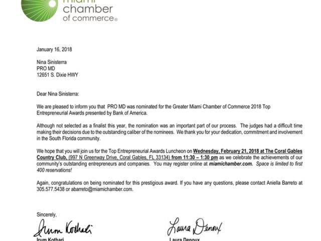 ProMD Nominated as One of the Top Entrepreneurial Companies by the Miami Chamber of Commerce