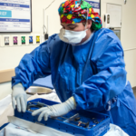 Scrub Tech preps for surgery