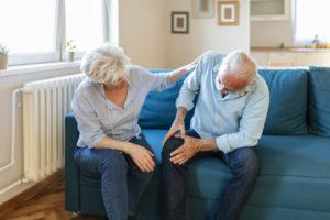 Senior man with knee osteoarthritis