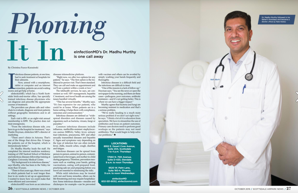 eInfectionMD's Dr. Murthy in Scottsdale Airpark News