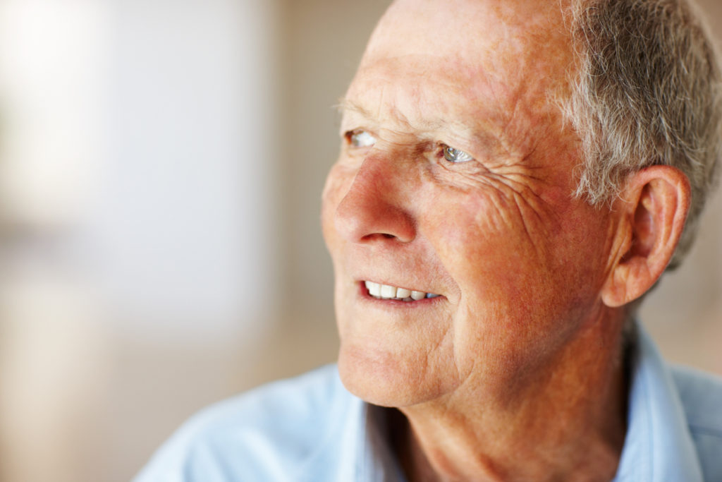 Elderly man suffering from How Wet Age-related Macular Degeneration