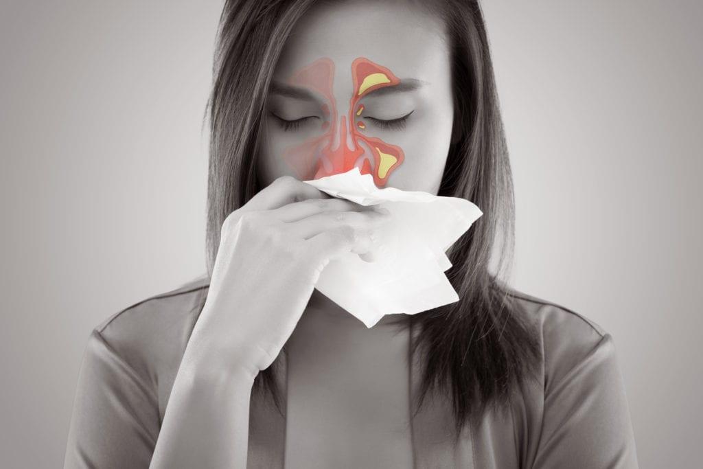 Women Feeling Unwell And Sinus