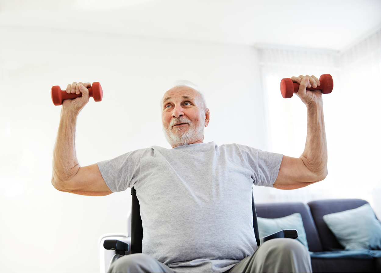 Senior man doing physical therapy and exercise