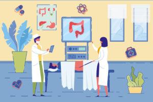 Illustration of a colonoscopy