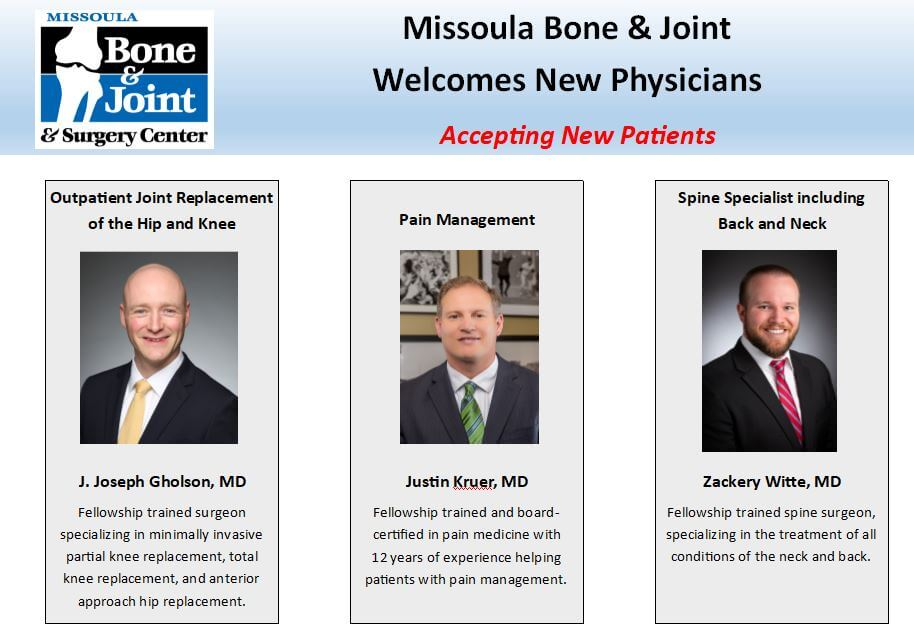 Welcome New Physicians Missoula Bone Joint
