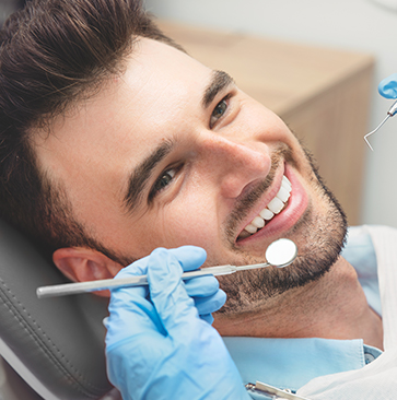 Man Trying Tooth Colored Fillings