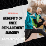 older couple exercising after knee replacement surgery
