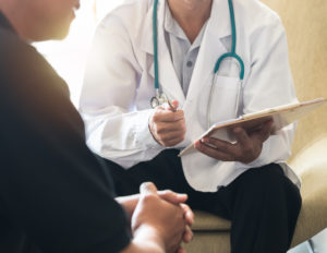 Man talking to urologist