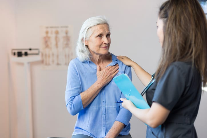 Senior Woman's Doctor's Office Visit For Chest Pain
