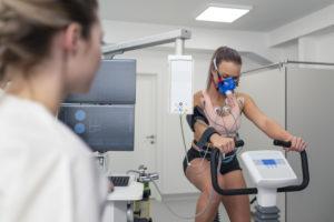 Woman taking a cardiopulmonary stress test