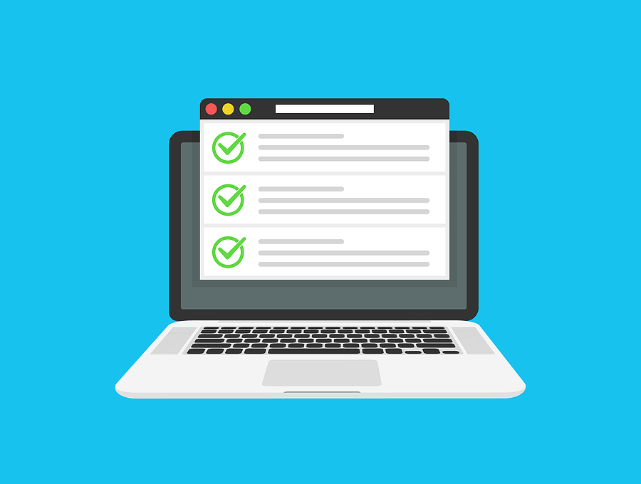 Graphic of a computer showing a checklist for healthcare practice websites