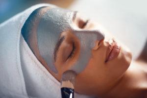 woman getting facial at a medical spa