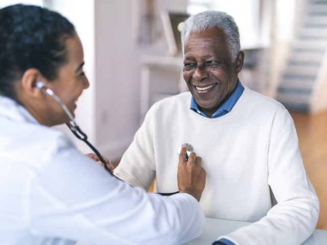 Senior adult man at routine medical appointment
