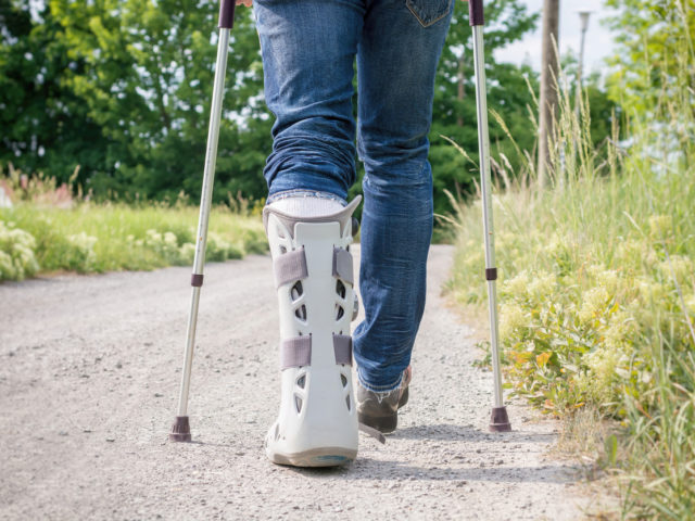 Walking with a foot boot
