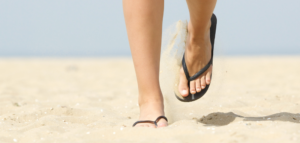 problem with walking in flip flops